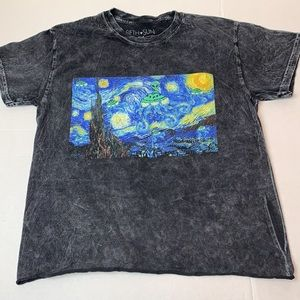 Starry Night with an aliens T-shirt Small